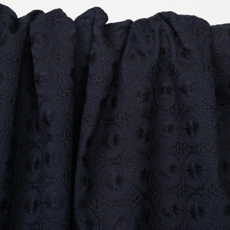 Tissu coton brodé bleu nuit à motif cercle - Pretty Mercerie - mercerie en ligne