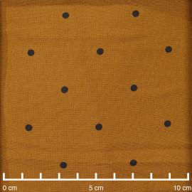 Tissu caramel à pois noir- Pretty Mercerie - mercerie en ligne
