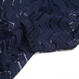 Tissu dentelle bleu marine et noir à motif fleurie et bandes zig zag - Pretty Mercerie - mercerie en ligne