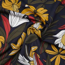 Tissu coton et viscose bleu nuit à motif fleuri tropicaux ocre, brique et kaki - pretty mercerie - mercerie en ligne