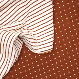 Tissu matelassé noisette à pois tissé blanc cassé x 10cm