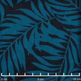 Tissu coton noir à motif feuille de palmier bleu corsair - Pretty Mercerie - mercerie en ligne