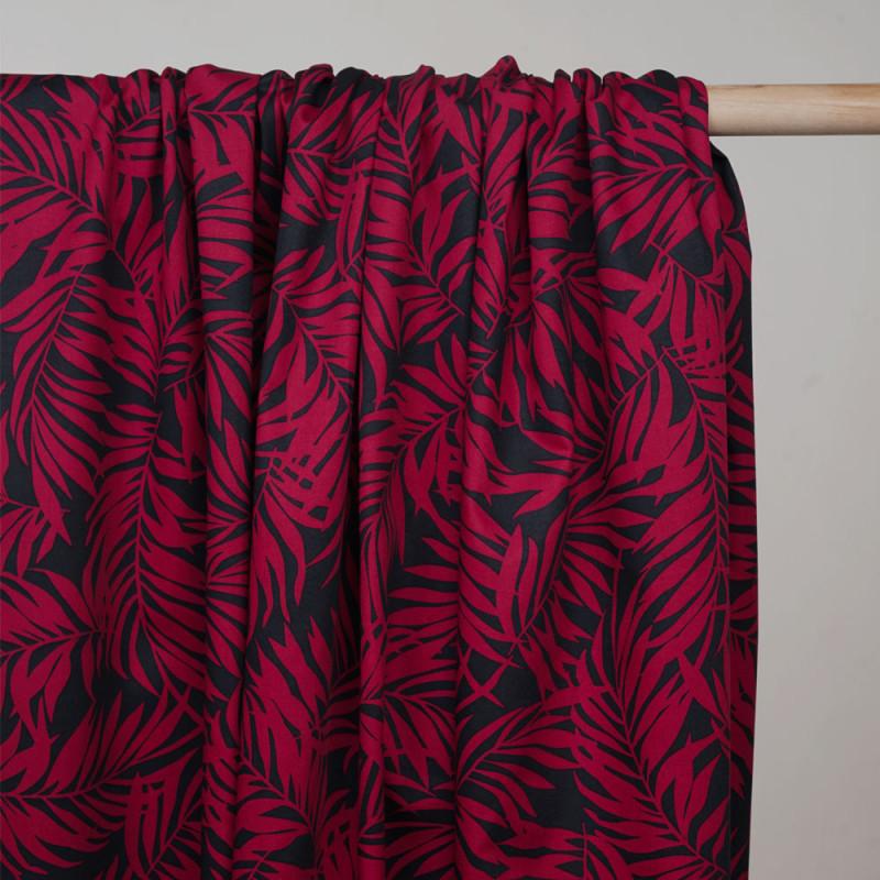 Tissu coton noir à motif feuille de palmier rose barberry - Pretty Mercerie - mercerie en ligne