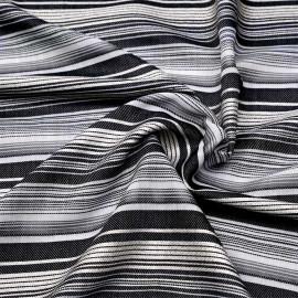 Tissu viscose tissé à motif rayures irrégulières grises blanches et dorées X 10 CM
