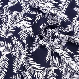 Tissu viscose bleu foncé à motif feuilles de palmier blanc et gris x 10 CM