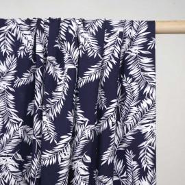 Tissu viscose bleu foncé à motif feuilles de palmier blanc et gris - Pretty Mercerie - mercerie en ligne