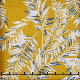 Tissu viscose lemon curry à motif feuilles de palmier blanc et bleu - Pretty Mercerie - mercerie en ligne