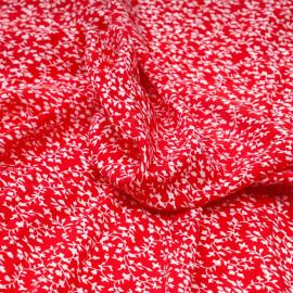 Tissu rouge poppy à motif fleuri blanc - Pretty Mercerie - mercerie en ligne