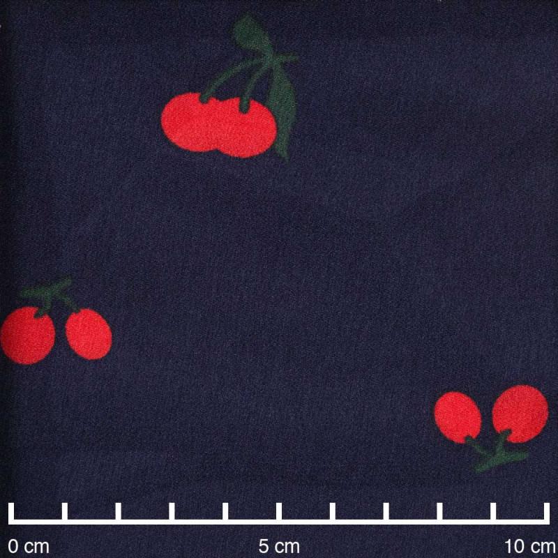 Tissu bleu marine à motif cherry rouge et vert - Pretty Mercerie - mercerie en ligne