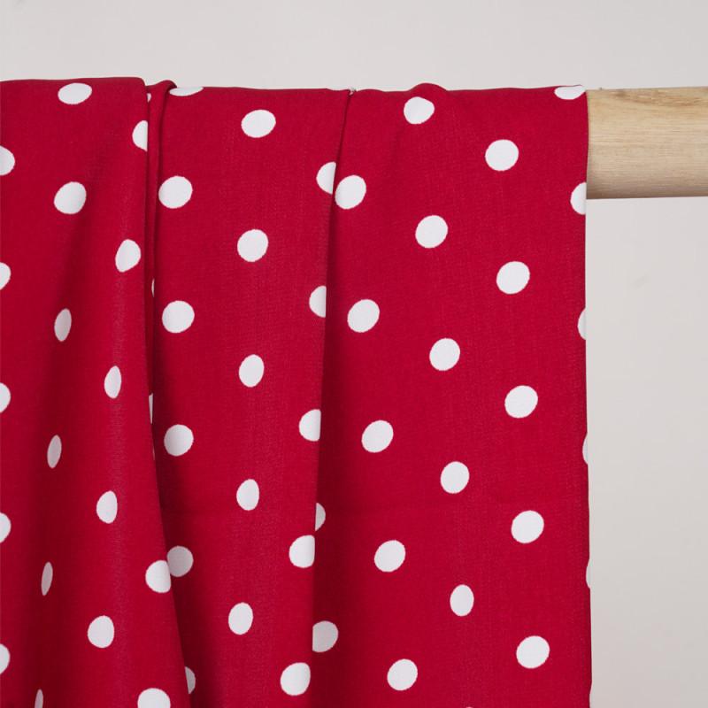 Tissu rouge scarlet à motif pois blanc - Pretty Mercerie - mercerie en ligne
