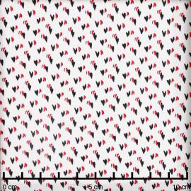 Tissu viscose blanc à motif coeurs entrelacés rouge et noir - Pretty Mercerie - mercerie en ligne
