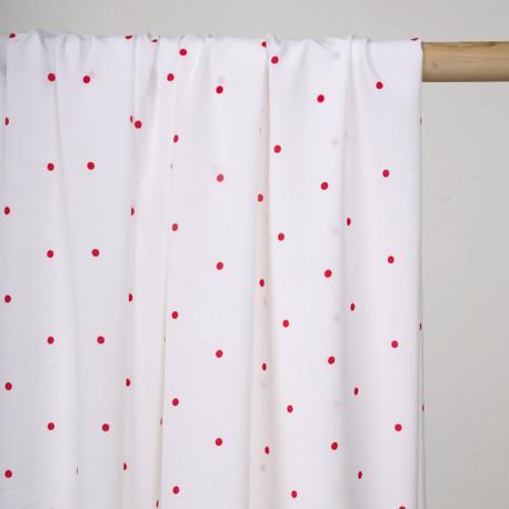 Tissu blanc cassé à petit pois rouge - pretty mercerie - mercerie en ligne