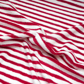 Tissu coton éponge blanc à motif rayé rouge barberry x 10cm