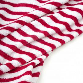Tissu coton éponge blanc à motif rayé rouge barberry  - Pretty Mercerie - mercerie en ligne