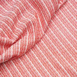 Tissu tweed rouge, blanc et  fil lurex or x 10 CM