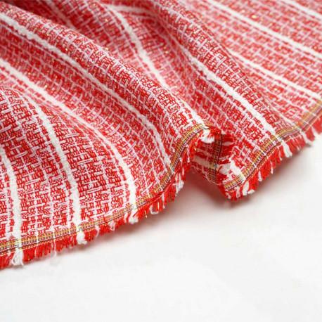 Tissu tweed rouge argile blanc cassé et lurex or - Pretty Mercerie - mercerie en ligne