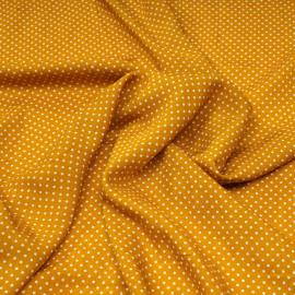 Tissu viscose moutarde à petits pois blanc X 10 CM