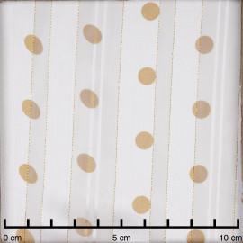 Tissu mousseline blanc cassé tissé à motif pois ocre et fil lurex cuivré  - pretty mercerie - mercerie en ligne