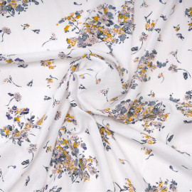 Tissu viscose blanc cassé à motif fleuri blush, moutarde et bleu gris X 10 CM