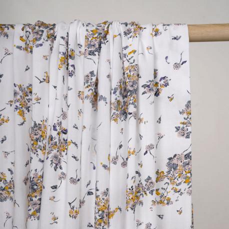 Tissu viscose blanc cassé à motif fleuri blush, moutarde et bleu gris - pretty mercerie - mercerie en ligne