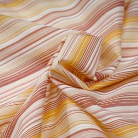 Tissu coton à motif rayé brique jaune et rose x 10cm