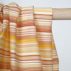 Tissu coton à motif rayé brique jaune et rose - pretty mercerie - mercerie en ligne