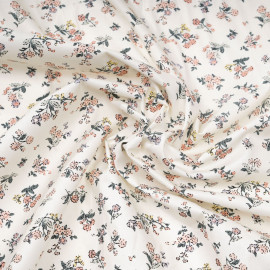 Tissu coton écru à motif fleuri vert rose mauve et jaune x 10cm