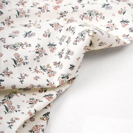 Tissu coton écru à motif fleuri vert rose mauve et jaune - pretty mercerie - mercerie en ligne