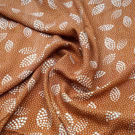 Tissu viscose caramel à motif pois irrégulier blanc cassé - pretty mercerie - mercerie en ligne