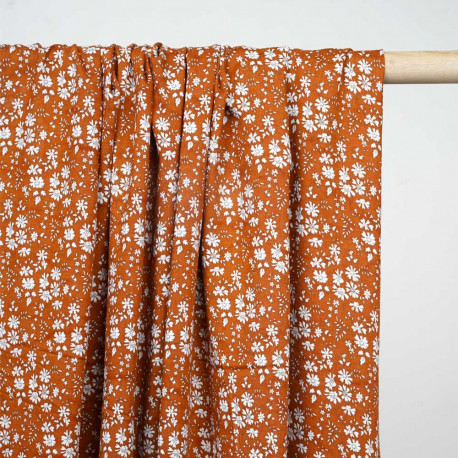 Tissu viscose marron bombay à motif  fleuri blanc - pretty mercerie - mercerie en ligne