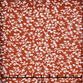 Tissu burnt brick à motif fleuri blanc - pretty mercerie - mercerie en ligne