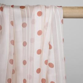 Tissu mousseline blanc cassé tissé à motif pois cinnabar et fil lurex cuivré  - pretty mercerie - mercerie en ligne