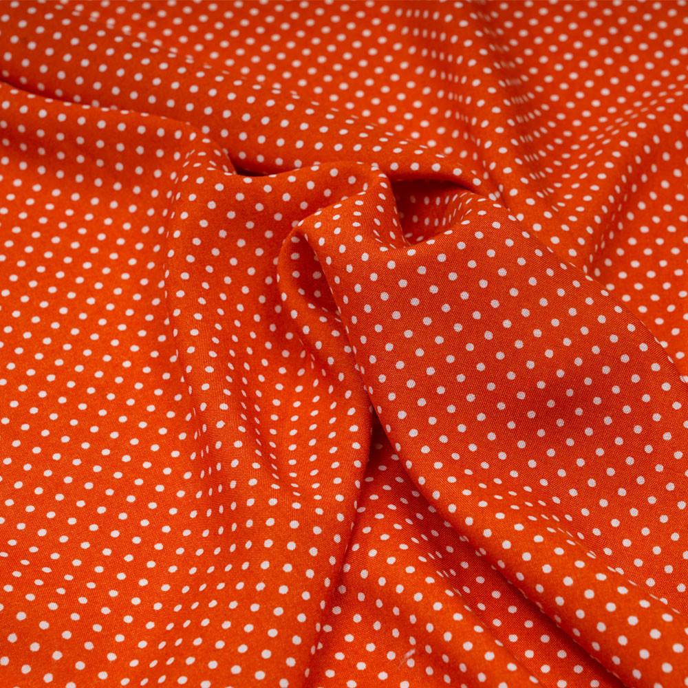 Tissu viscose spicy orange à petits pois blanc - pretty mercerie - mercerie en ligne