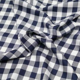 Tissu viscose sergé et tissé à motif vichy bleu marine et blanc x 10cm