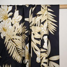Tissu satiné bleu profond à motif fleurs tropicales blanc cassé et moutarde - pretty mercerie - mercerie en ligne