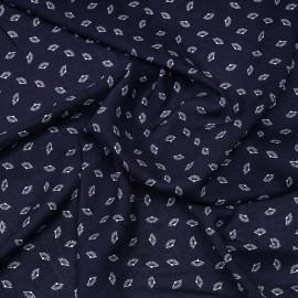 Tissu viscose bleu marine à motif petits éventails blanc  X 10 CM