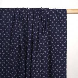 Tissu viscose bleu marine à motif petits éventails blanc - pretty mercerie - mercerie en ligne