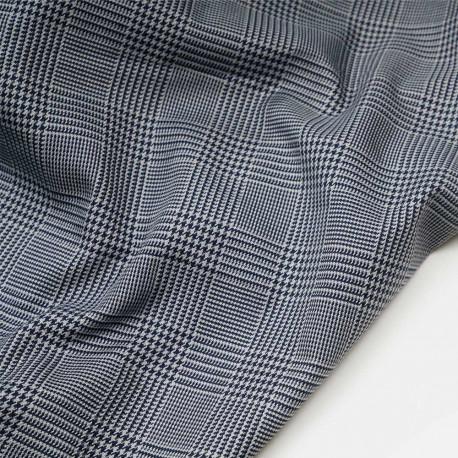 Tissu Prince de Galles gris et bleu de Prusse - pretty mercerie - mercerie en ligne