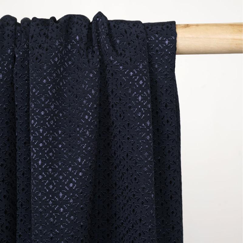 Tissu jacquard bleu marine sergé à motif abstrait satiné X 10 CM - pretty mercerie
