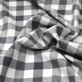 Tissu Flanelle de coton tissé blanc cassé vichy gris et fil lurex argenté x 10cm