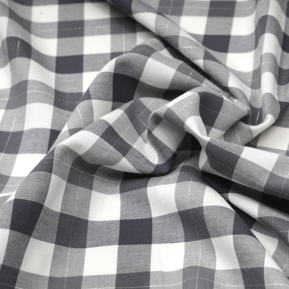 Tissu Flanelle de coton tissé blanc cassé vichy gris et fil lurex argenté - pretty mercerie - mercerie en ligne