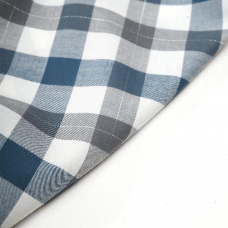Tissu Flanelle de coton tissé blanc cassé vichy bleu, gris et fil lurex argenté - pretty mercerie - mercerie en ligne