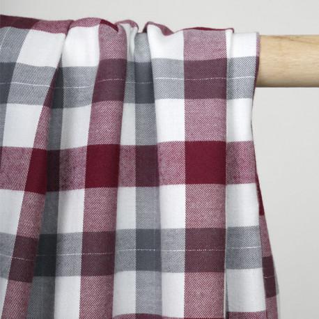 Tissu Flanelle de coton tissé blanc cassé vichy rhododendron, gris et fil lurex argenté - pretty mercerie - mercerie en ligne