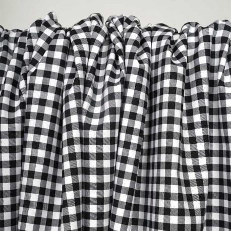 Tissu coton stretch motif vichy tissé noir et blanc