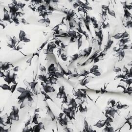 Tissu coton et viscose blanc à motif fleuri gris foncé - pretty mercerie - mercerie en ligne