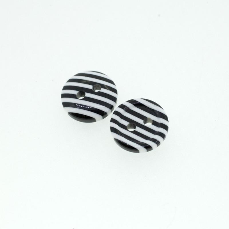 Bouton rond rayé noir & Blanc