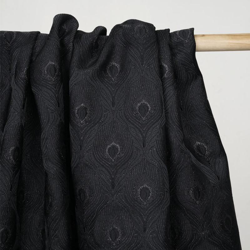 Tissu jacquard queue de paon noir et fil lurex noir - pretty mercerie - mercerie en ligne