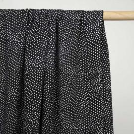 Tissu viscose noir à motif pois irrégulier blanc - pretty mercerie - mercerie en ligne