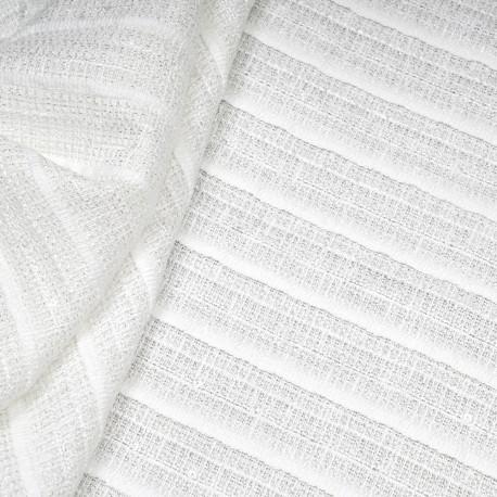 Tissu tweed blanc cassé et fil lurex argenté - pretty mercerie - mercerie en ligne
