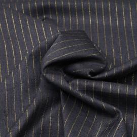 Tissu flanelle gris anthracite à motif rayure fil lurex or  x 10 cm